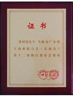 唐树松先生当选广东省工商业联合会(总商会)第十二届执行委员会执委